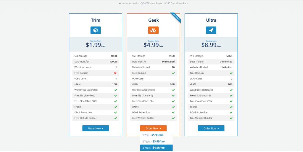 select web hosting plan