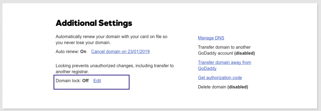domain lock settings