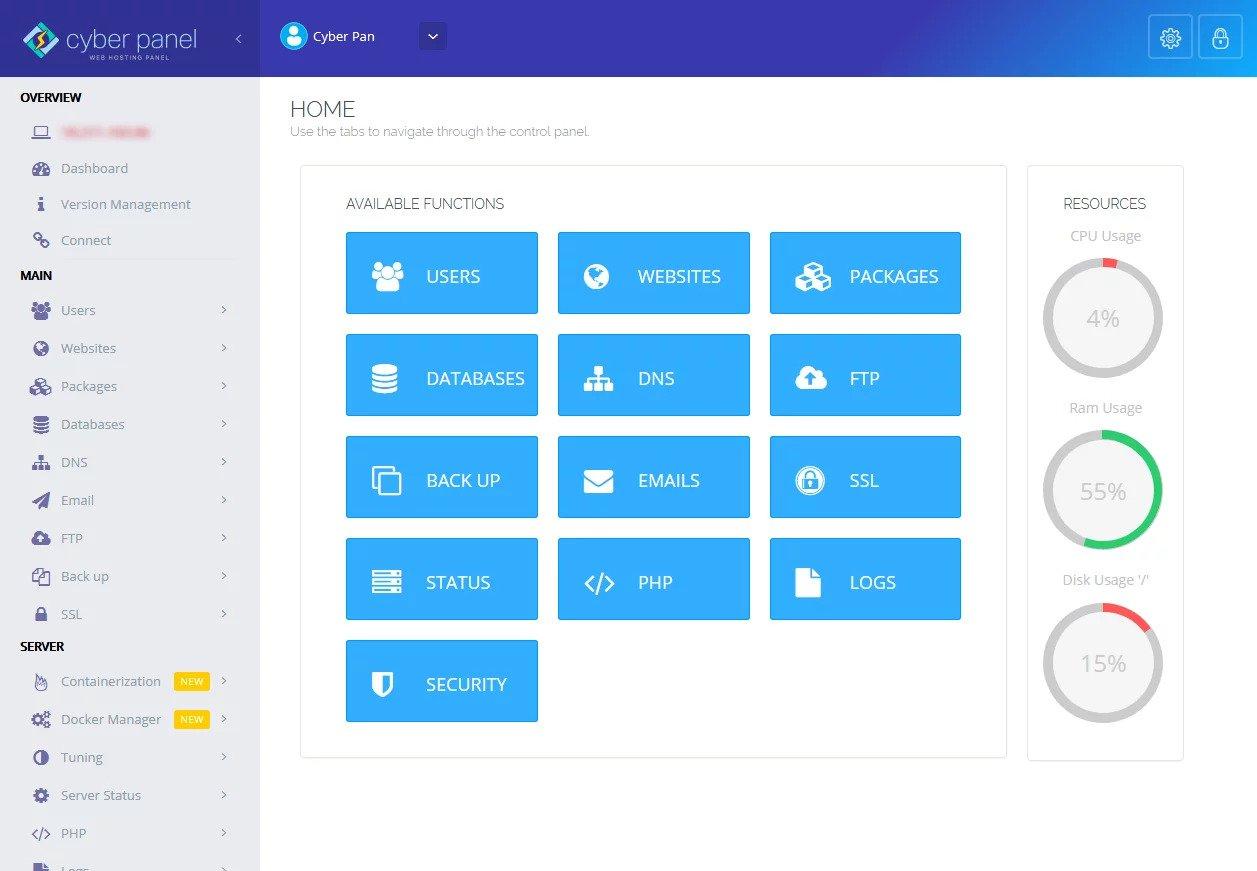 CyberPanel dashboard